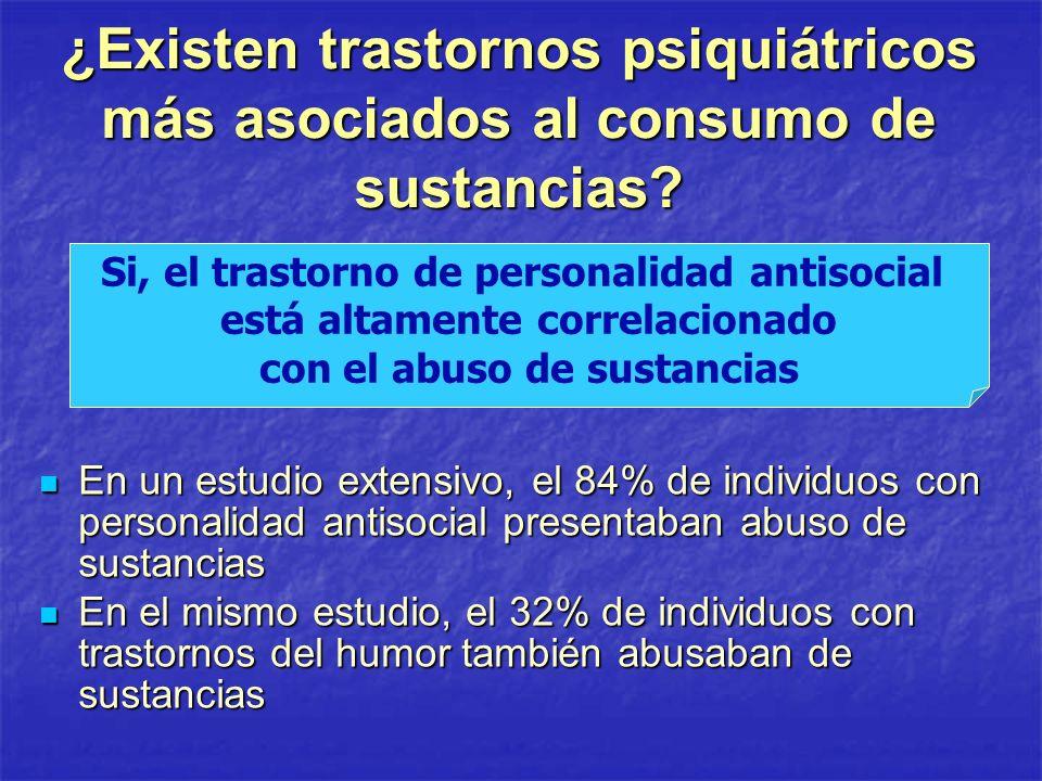¿Existen trastornos psiquiátricos más asociados al consumo de sustancias? En un estudio extensivo, el 84% de individuos con personalidad antisocial pr