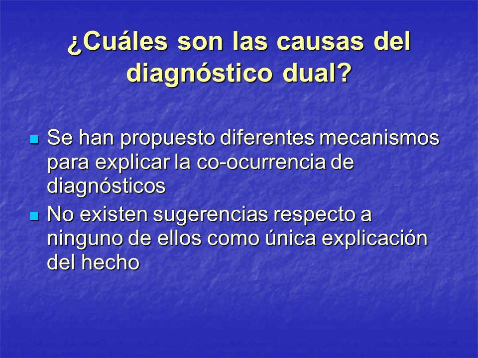 ¿Cuáles son las causas del diagnóstico dual? Se han propuesto diferentes mecanismos para explicar la co-ocurrencia de diagnósticos Se han propuesto di