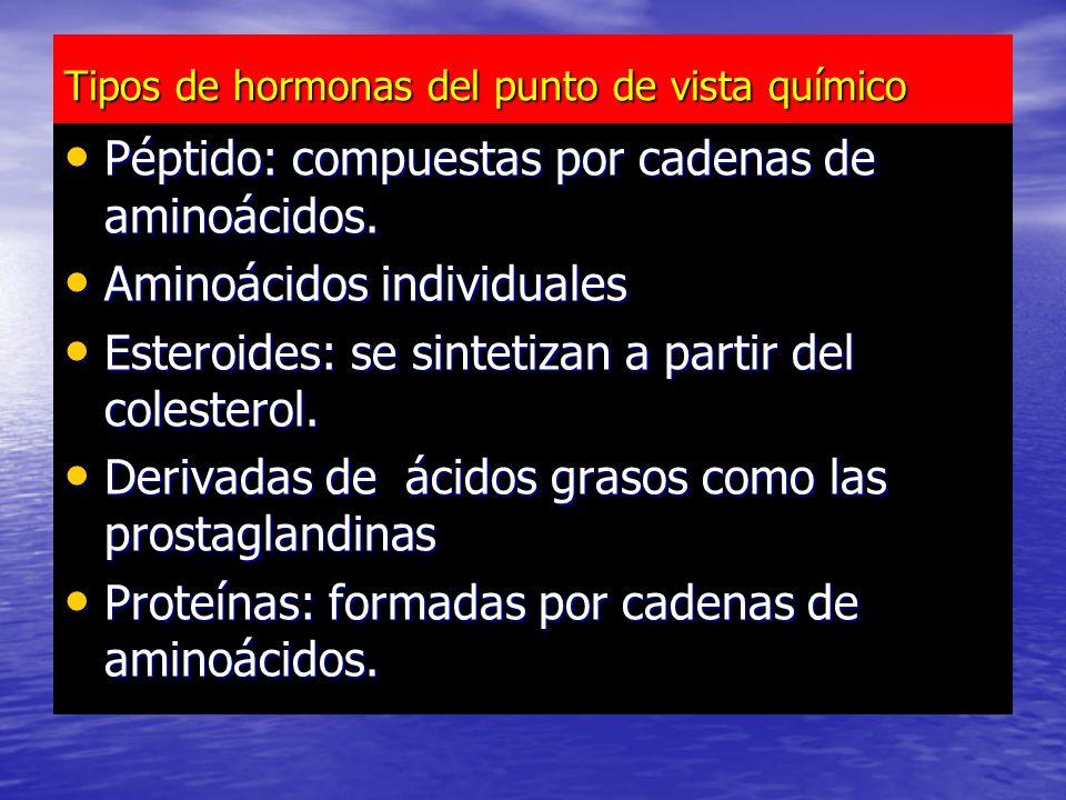 Tipos de hormonas del punto de vista químico Péptido: compuestas por cadenas de aminoácidos.