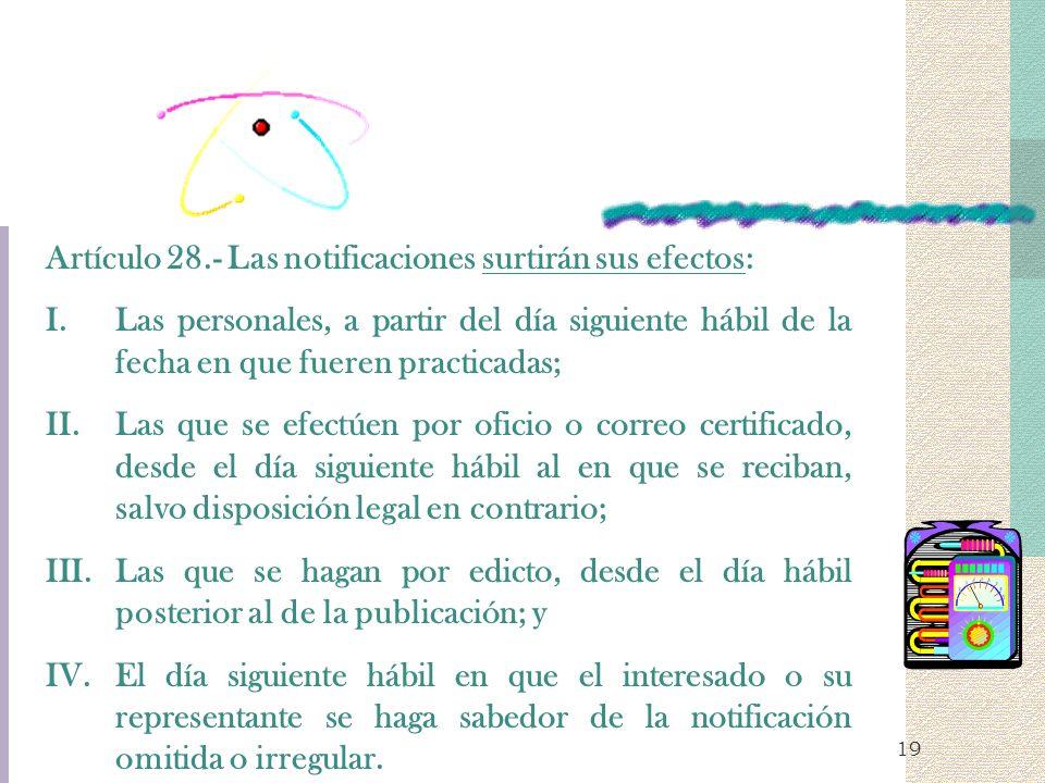 19 Artículo 28.- Las notificaciones surtirán sus efectos: I.Las personales, a partir del día siguiente hábil de la fecha en que fueren practicadas; II