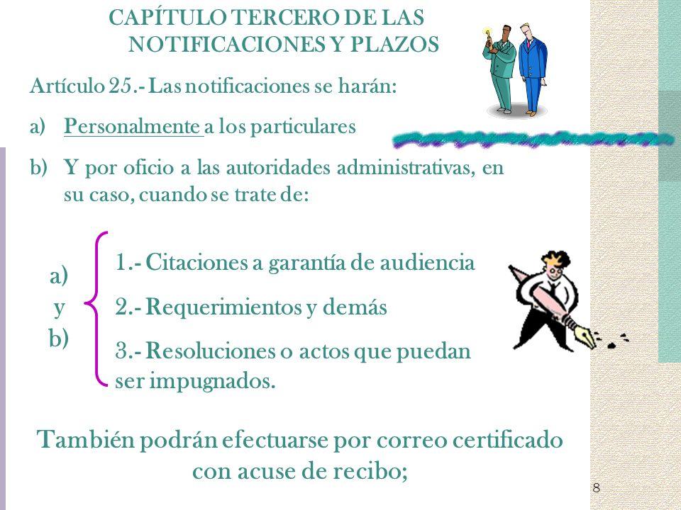 8 CAPÍTULO TERCERO DE LAS NOTIFICACIONES Y PLAZOS Artículo 25.- Las notificaciones se harán: a)Personalmente a los particulares b)Y por oficio a las a
