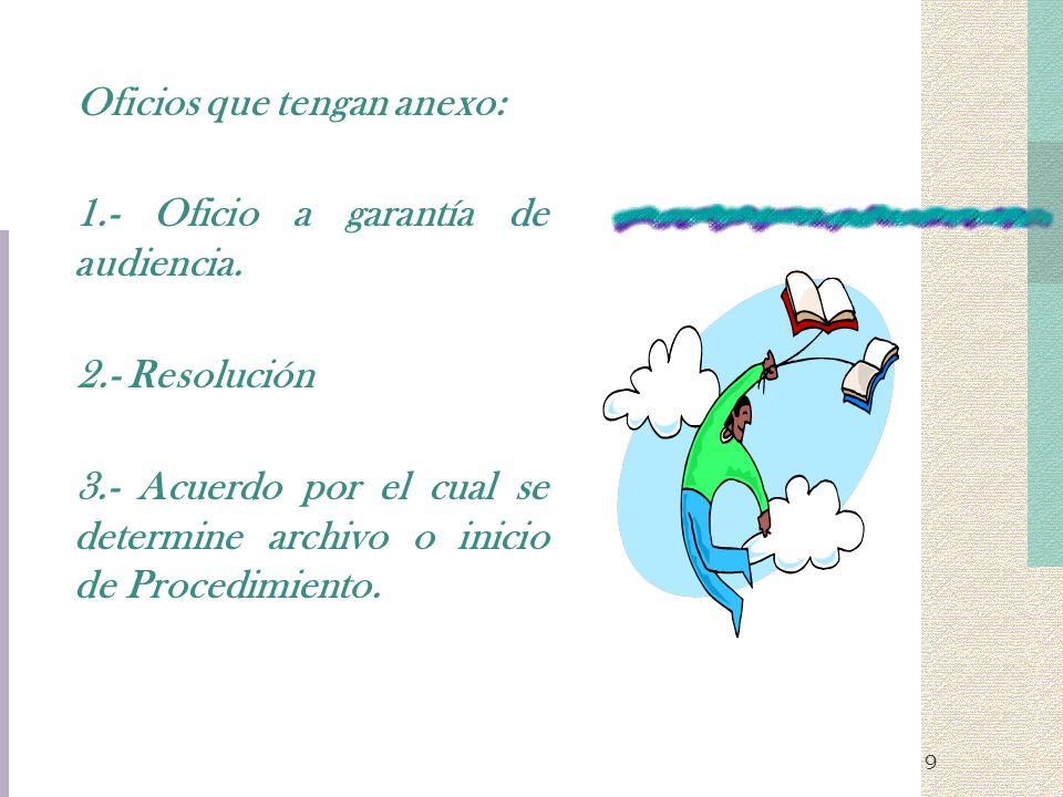 9 Oficios que tengan anexo: 1.- Oficio a garantía de audiencia. 2.- Resolución 3.- Acuerdo por el cual se determine archivo o inicio de Procedimiento.