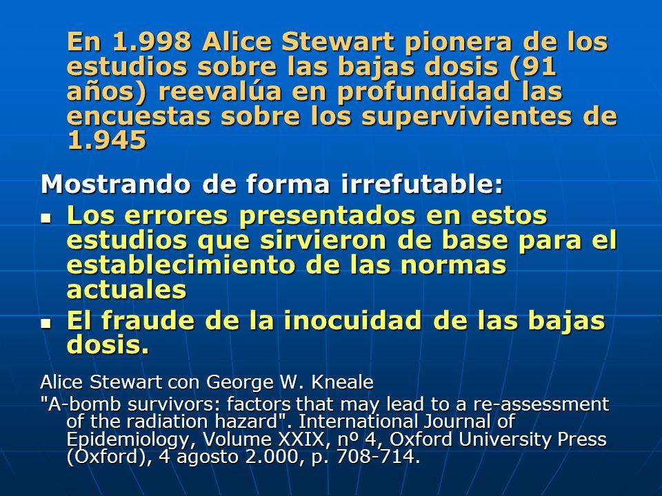 En 1.998 Alice Stewart pionera de los estudios sobre las bajas dosis (91 años) reevalúa en profundidad las encuestas sobre los supervivientes de 1.945 Mostrando de forma irrefutable: Los errores presentados en estos estudios que sirvieron de base para el establecimiento de las normas actuales Los errores presentados en estos estudios que sirvieron de base para el establecimiento de las normas actuales El fraude de la inocuidad de las bajas dosis.