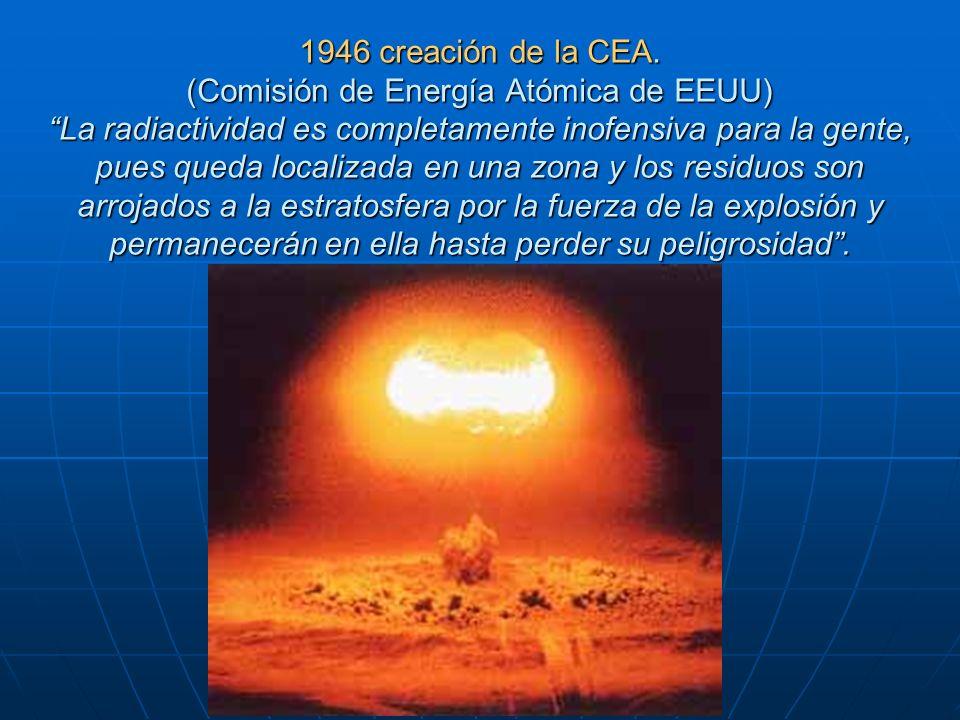 1946 creación de la CEA. (Comisión de Energía Atómica de EEUU) La radiactividad es completamente inofensiva para la gente, pues queda localizada en un