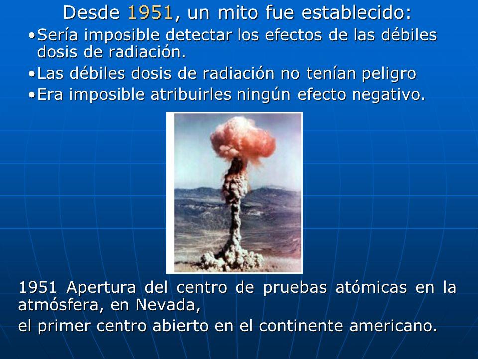 Desde 1951, un mito fue establecido: Sería imposible detectar los efectos de las débiles dosis de radiación.Sería imposible detectar los efectos de las débiles dosis de radiación.