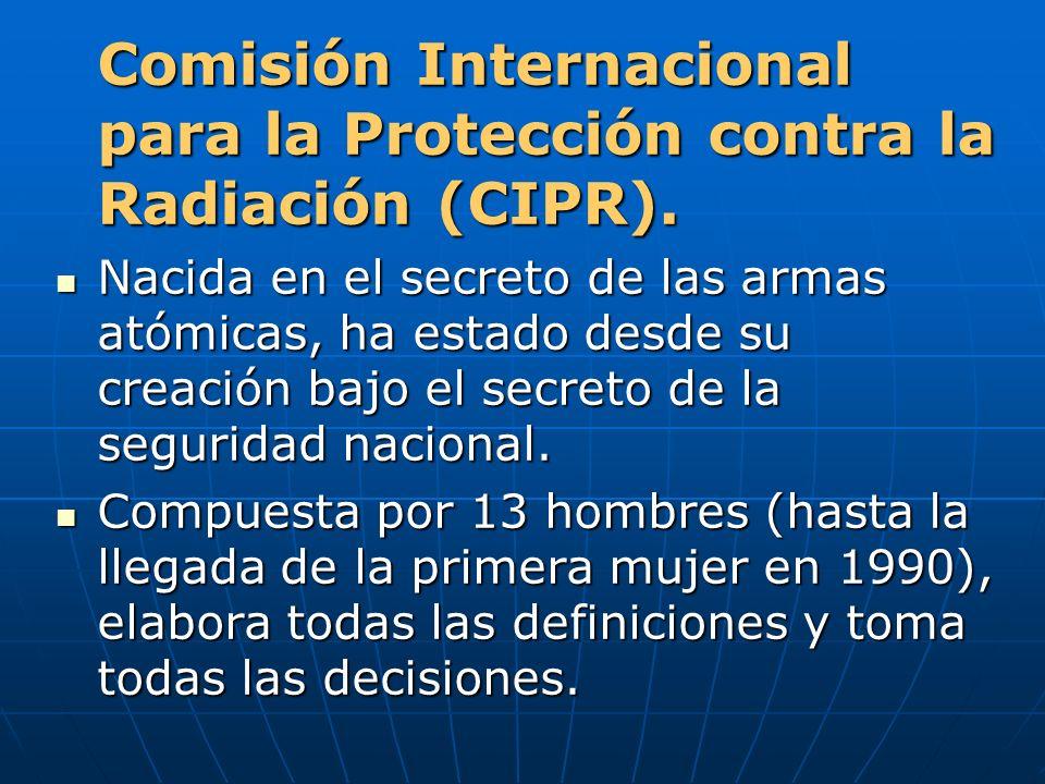 Comisión Internacional para la Protección contra la Radiación (CIPR). Nacida en el secreto de las armas atómicas, ha estado desde su creación bajo el