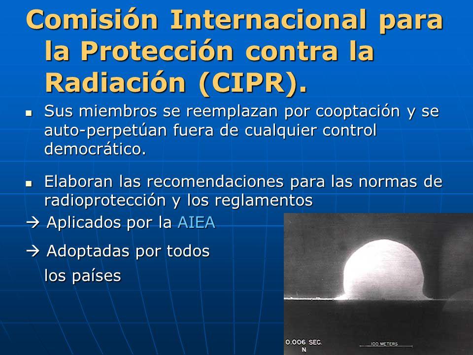 Comisión Internacional para la Protección contra la Radiación (CIPR). Sus miembros se reemplazan por cooptación y se auto-perpetúan fuera de cualquier