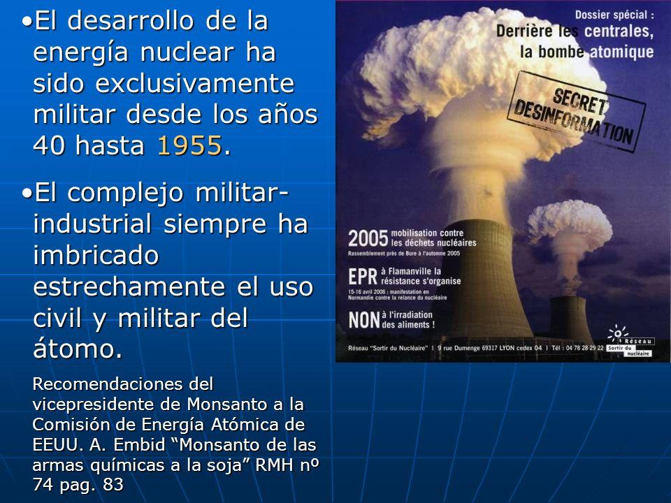 El desarrollo de la energía nuclear ha sido exclusivamente militar desde los años 40 hasta 1955.El desarrollo de la energía nuclear ha sido exclusivamente militar desde los años 40 hasta 1955.