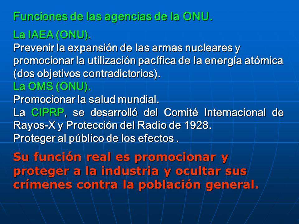 Funciones de las agencias de la ONU. La IAEA (ONU). Prevenir la expansión de las armas nucleares y promocionar la utilización pacífica de la energía a
