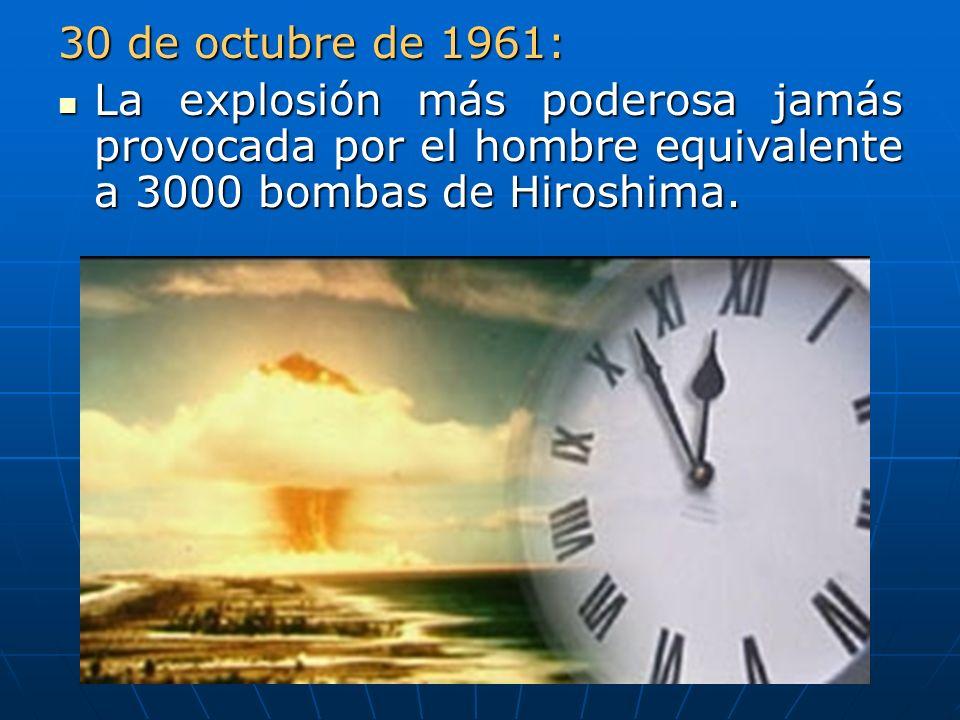 30 de octubre de 1961: La explosión más poderosa jamás provocada por el hombre equivalente a 3000 bombas de Hiroshima. La explosión más poderosa jamás