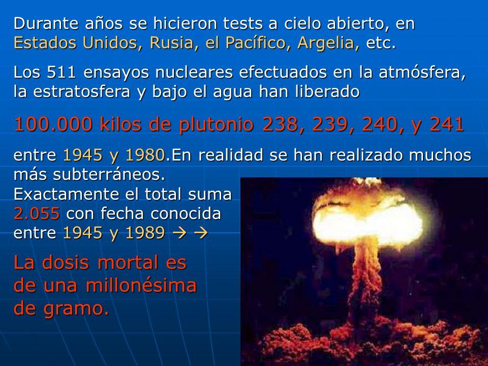 Durante años se hicieron tests a cielo abierto, en Estados Unidos, Rusia, el Pacífico, Argelia, etc. Los 511 ensayos nucleares efectuados en la atmósf