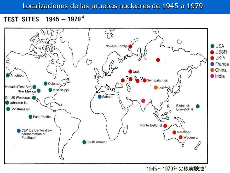 Localizaciones de las pruebas nucleares de 1945 a 1979