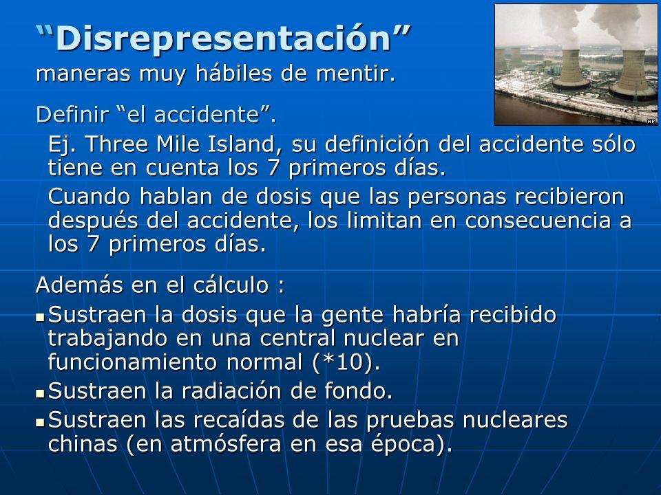 DisrepresentaciónDisrepresentación maneras muy hábiles de mentir. Definir el accidente. Ej. Three Mile Island, su definición del accidente sólo tiene