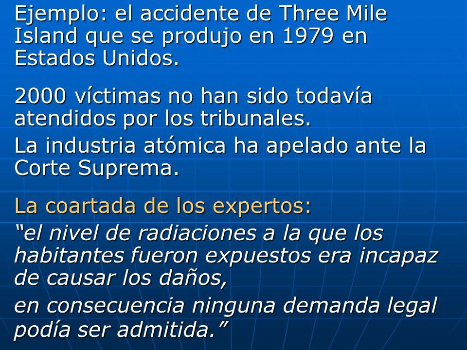 Ejemplo: el accidente de Three Mile Island que se produjo en 1979 en Estados Unidos. 2000 víctimas no han sido todavía atendidos por los tribunales. L