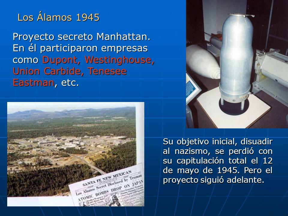 Los Álamos 1945 Proyecto secreto Manhattan. En él participaron empresas como Dupont, Westinghouse, Union Carbide, Tenesee Eastman, etc. Su objetivo in