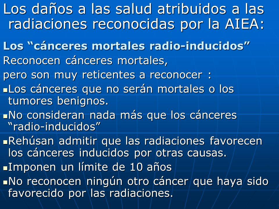 Los daños a las salud atribuidos a las radiaciones reconocidas por la AIEA: Los cánceres mortales radio-inducidos Reconocen cánceres mortales, pero son muy reticentes a reconocer : Los cánceres que no serán mortales o los tumores benignos.