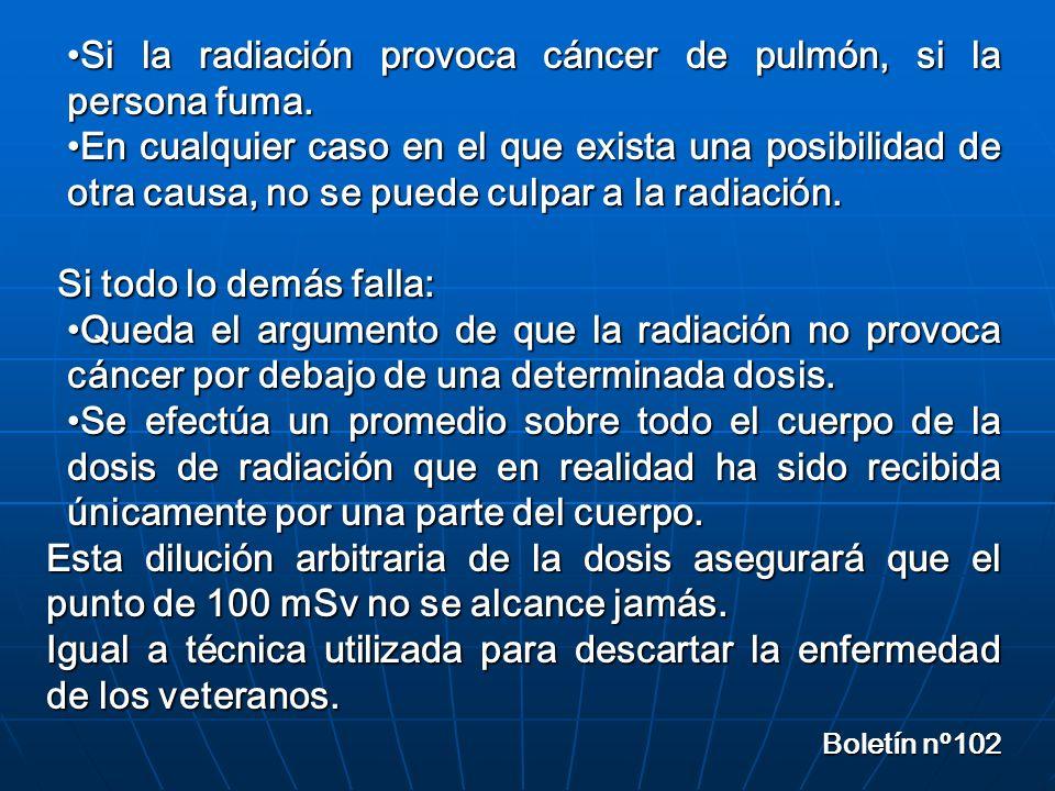 Si la radiación provoca cáncer de pulmón, si la persona fuma.Si la radiación provoca cáncer de pulmón, si la persona fuma.