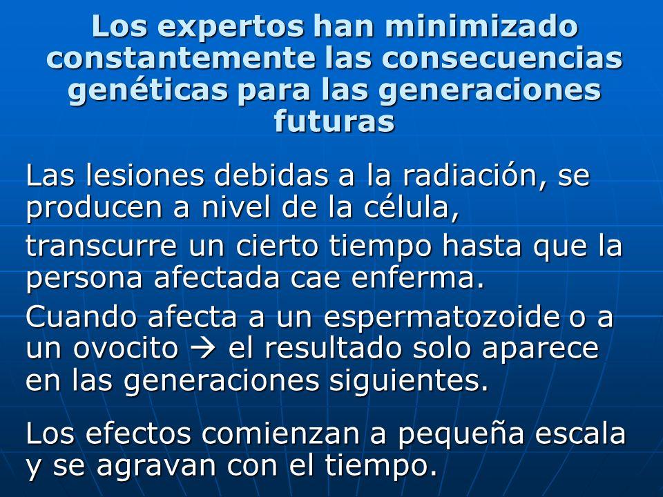 Los expertos han minimizado constantemente las consecuencias genéticas para las generaciones futuras Las lesiones debidas a la radiación, se producen