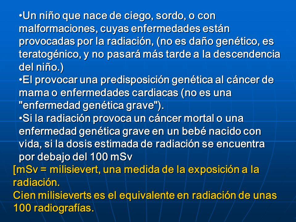 Un niño que nace de ciego, sordo, o con malformaciones, cuyas enfermedades están provocadas por la radiación, (no es daño genético, es teratogénico, y no pasará más tarde a la descendencia del niño.)Un niño que nace de ciego, sordo, o con malformaciones, cuyas enfermedades están provocadas por la radiación, (no es daño genético, es teratogénico, y no pasará más tarde a la descendencia del niño.) El provocar una predisposición genética al cáncer de mama o enfermedades cardiacas (no es una enfermedad genética grave ).El provocar una predisposición genética al cáncer de mama o enfermedades cardiacas (no es una enfermedad genética grave ).