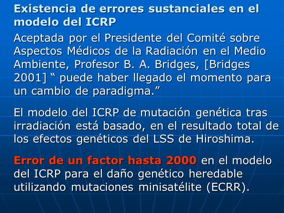 Existencia de errores sustanciales en el modelo del ICRP Aceptada por el Presidente del Comité sobre Aspectos Médicos de la Radiación en el Medio Ambiente, Profesor B.