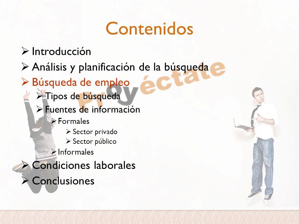 Contenidos Introducción Análisis y planificación de la búsqueda Búsqueda de empleo Tipos de búsqueda Fuentes de información Formales Sector privado Se