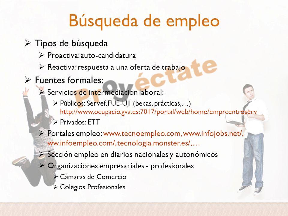 Búsqueda de empleo Tipos de búsqueda Proactiva: auto-candidatura Reactiva: respuesta a una oferta de trabajo Fuentes formales: Servicios de intermedia