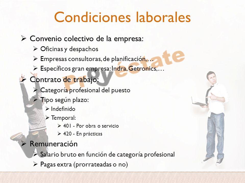 Condiciones laborales Convenio colectivo de la empresa: Oficinas y despachos Empresas consultoras, de planificación,… Específicos gran empresa: Indra,