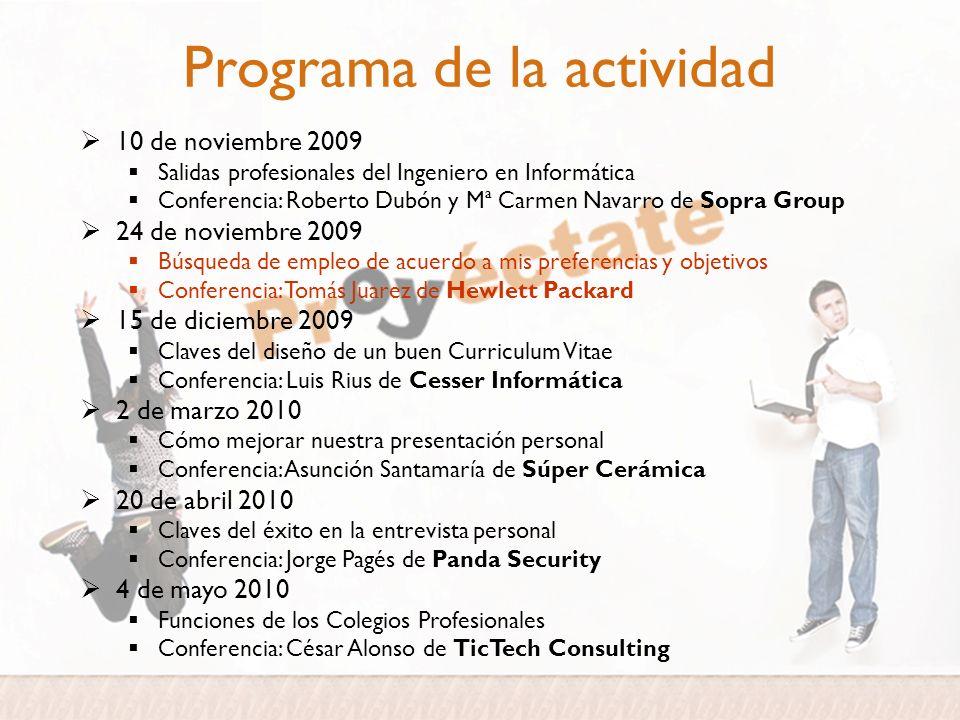 Programa de la actividad 10 de noviembre 2009 Salidas profesionales del Ingeniero en Informática Conferencia: Roberto Dubón y Mª Carmen Navarro de Sop