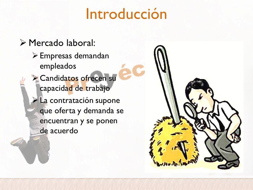 Introducción Mercado laboral: Empresas demandan empleados Candidatos ofrecen su capacidad de trabajo La contratación supone que oferta y demanda se en