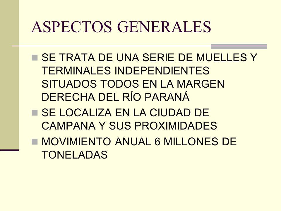ASPECTOS GENERALES SE TRATA DE UNA SERIE DE MUELLES Y TERMINALES INDEPENDIENTES SITUADOS TODOS EN LA MARGEN DERECHA DEL RÍO PARANÁ SE LOCALIZA EN LA C