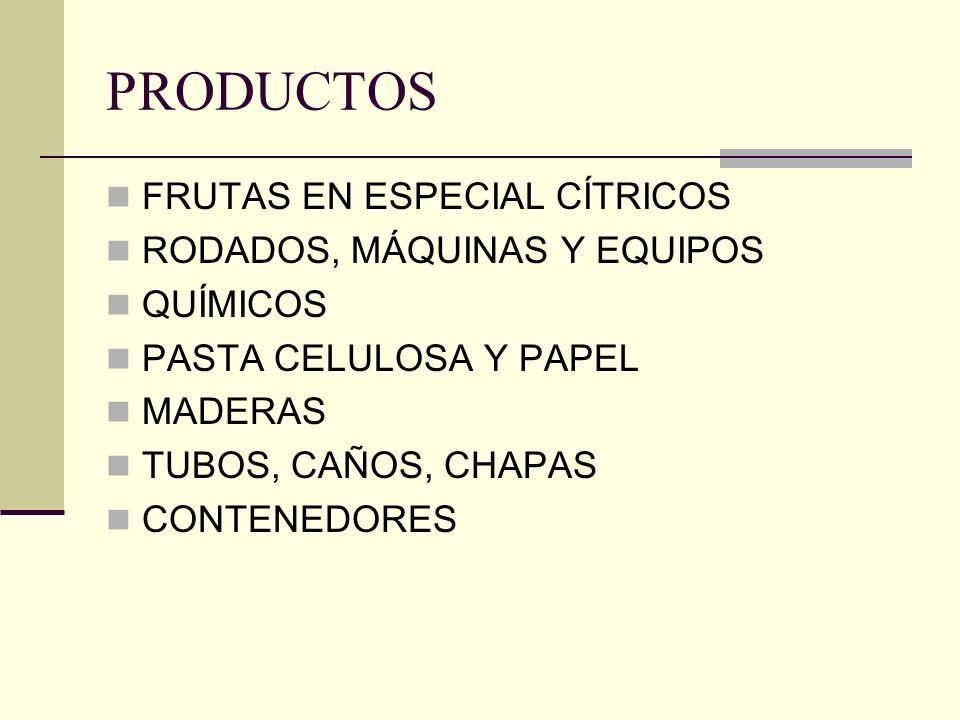PRODUCTOS FRUTAS EN ESPECIAL CÍTRICOS RODADOS, MÁQUINAS Y EQUIPOS QUÍMICOS PASTA CELULOSA Y PAPEL MADERAS TUBOS, CAÑOS, CHAPAS CONTENEDORES