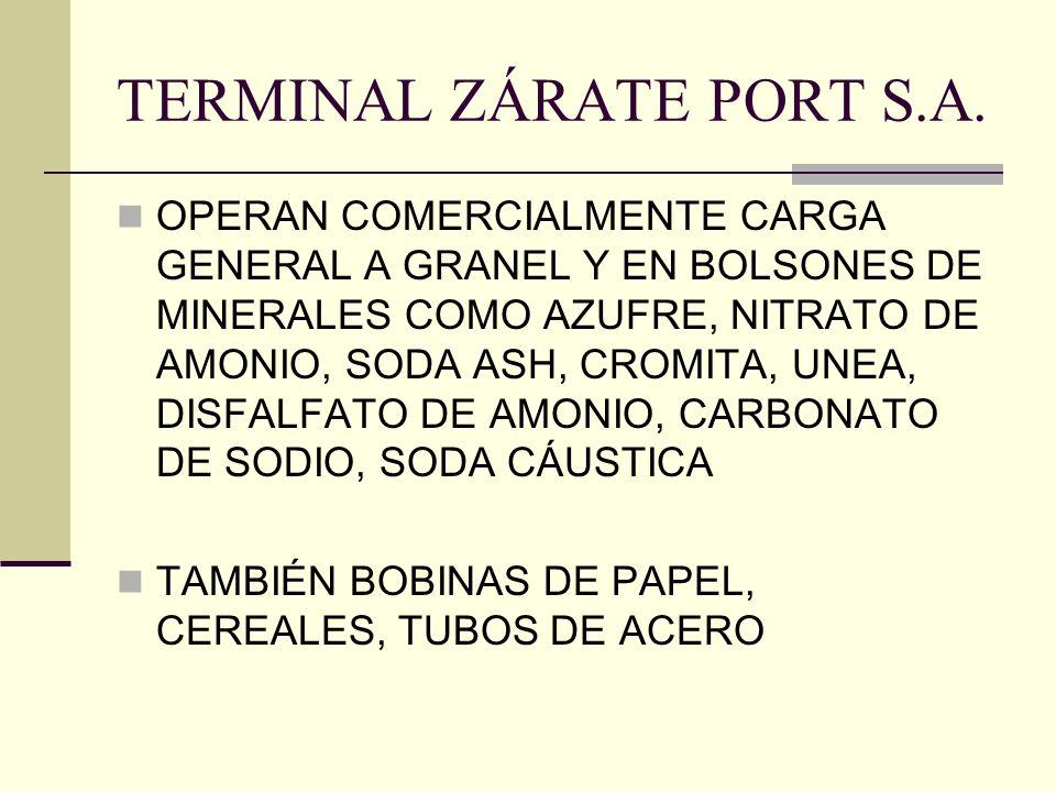 TERMINAL ZÁRATE PORT S.A. OPERAN COMERCIALMENTE CARGA GENERAL A GRANEL Y EN BOLSONES DE MINERALES COMO AZUFRE, NITRATO DE AMONIO, SODA ASH, CROMITA, U