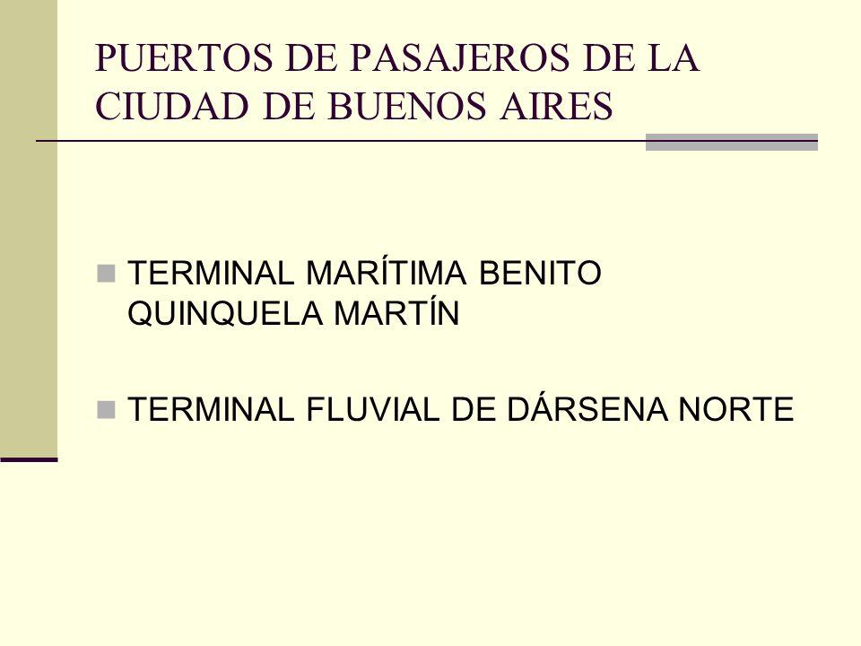 PUERTOS DE PASAJEROS DE LA CIUDAD DE BUENOS AIRES TERMINAL MARÍTIMA BENITO QUINQUELA MARTÍN TERMINAL FLUVIAL DE DÁRSENA NORTE