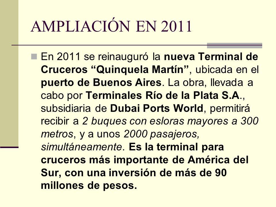 AMPLIACIÓN EN 2011 En 2011 se reinauguró la nueva Terminal de Cruceros Quinquela Martín, ubicada en el puerto de Buenos Aires. La obra, llevada a cabo
