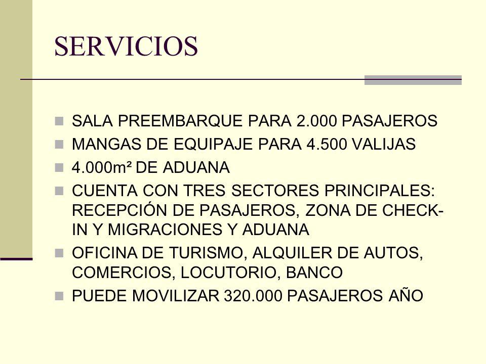 SERVICIOS SALA PREEMBARQUE PARA 2.000 PASAJEROS MANGAS DE EQUIPAJE PARA 4.500 VALIJAS 4.000m² DE ADUANA CUENTA CON TRES SECTORES PRINCIPALES: RECEPCIÓ
