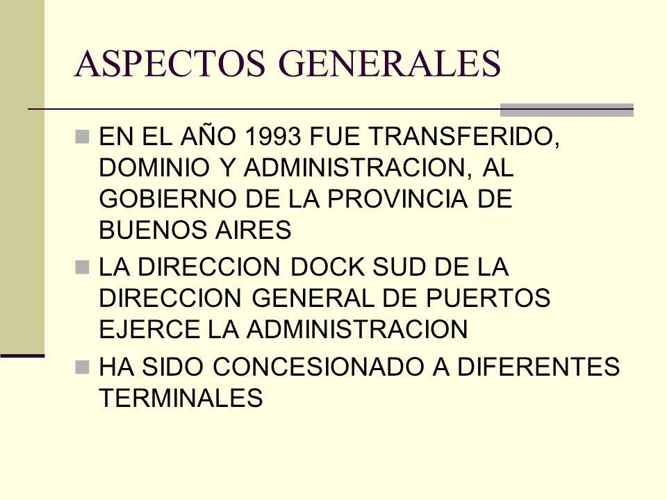 ASPECTOS GENERALES EN EL AÑO 1993 FUE TRANSFERIDO, DOMINIO Y ADMINISTRACION, AL GOBIERNO DE LA PROVINCIA DE BUENOS AIRES LA DIRECCION DOCK SUD DE LA D