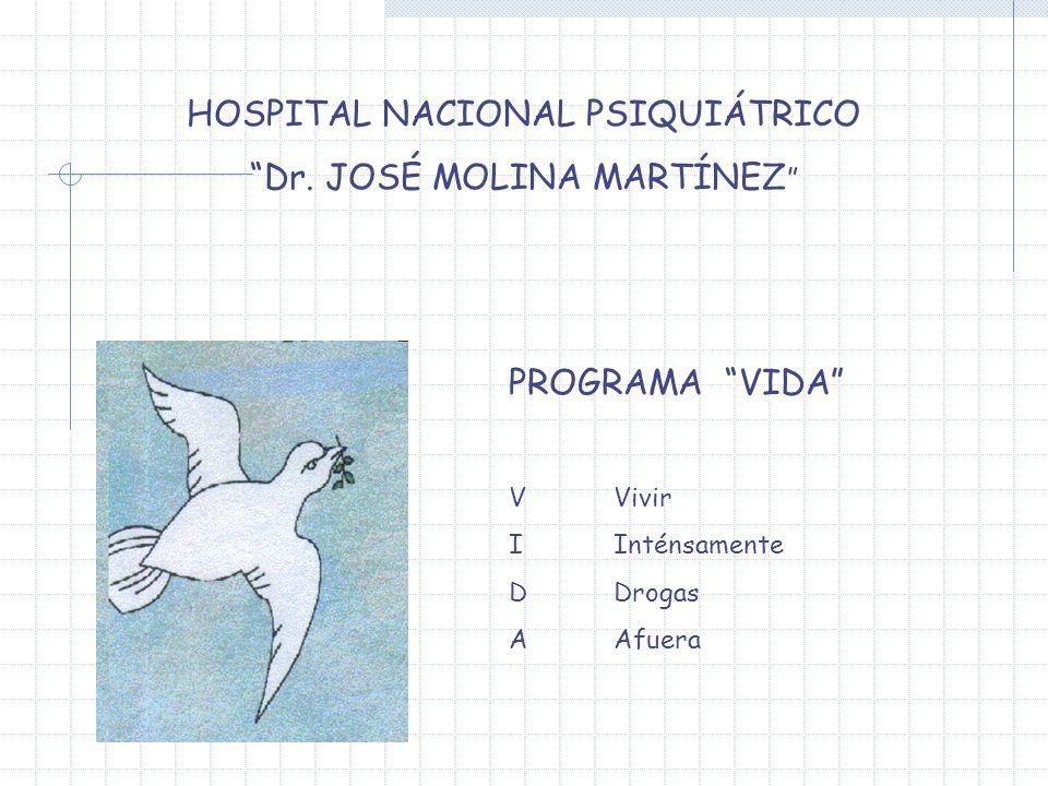 HOSPITAL NACIONAL PSIQUIÁTRICO Dr. JOSÉ MOLINA MARTÍNEZ PROGRAMA VIDA V Vivir IInténsamente DDrogas AAfuera
