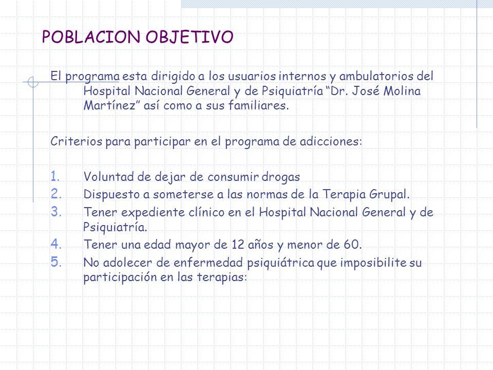 POBLACION OBJETIVO El programa esta dirigido a los usuarios internos y ambulatorios del Hospital Nacional General y de Psiquiatría Dr. José Molina Mar