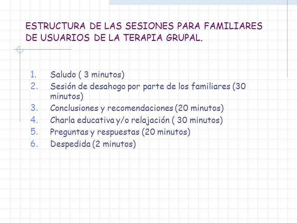 ESTRUCTURA DE LAS SESIONES PARA FAMILIARES DE USUARIOS DE LA TERAPIA GRUPAL. 1. Saludo ( 3 minutos) 2. Sesión de desahogo por parte de los familiares