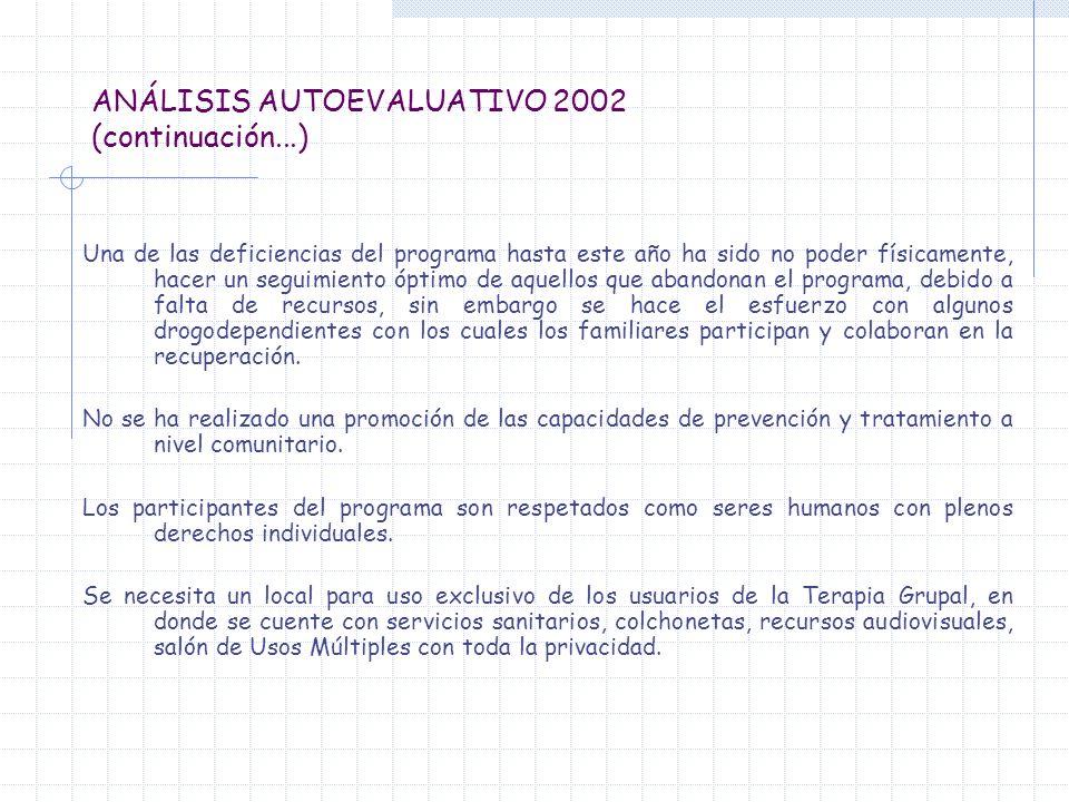 ANÁLISIS AUTOEVALUATIVO 2002 (continuación...) Una de las deficiencias del programa hasta este año ha sido no poder físicamente, hacer un seguimiento