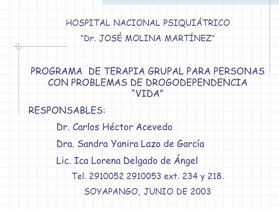 HOSPITAL NACIONAL PSIQUIÁTRICO Dr. JOSÉ MOLINA MARTÍNEZ PROGRAMA DE TERAPIA GRUPAL PARA PERSONAS CON PROBLEMAS DE DROGODEPENDENCIA VIDA RESPONSABLES: