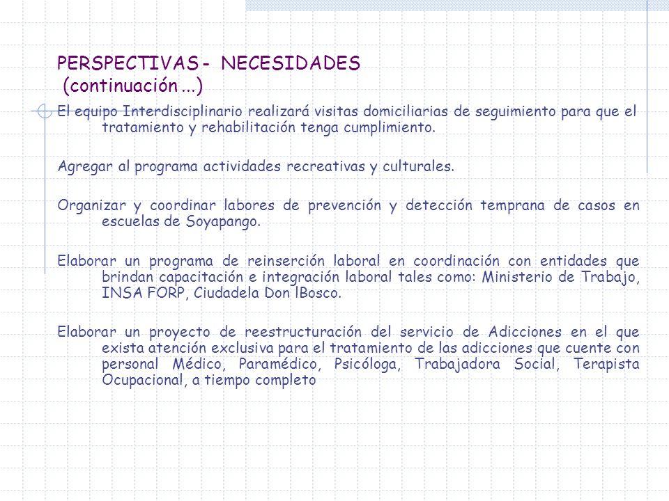 PERSPECTIVAS - NECESIDADES (continuación...) El equipo Interdisciplinario realizará visitas domiciliarias de seguimiento para que el tratamiento y reh