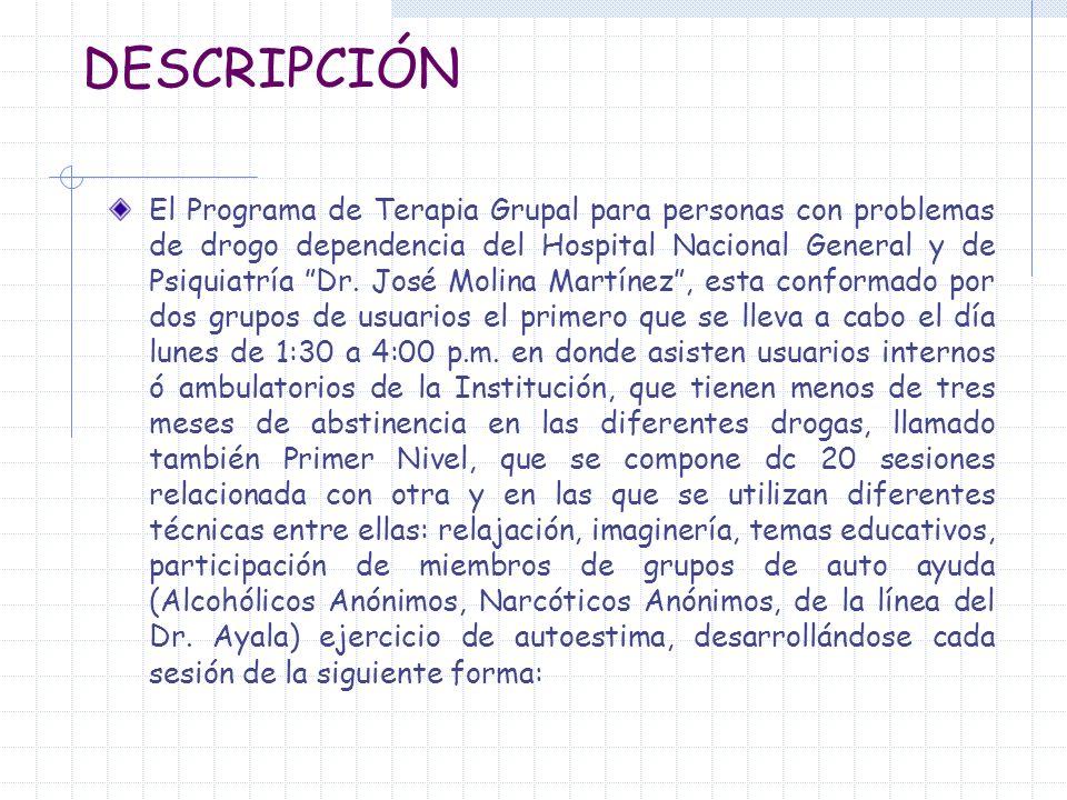 DESCRIPCIÓN El Programa de Terapia Grupal para personas con problemas de drogo dependencia del Hospital Nacional General y de Psiquiatría Dr. José Mol