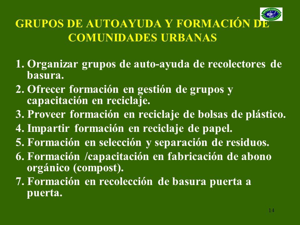 14 GRUPOS DE AUTOAYUDA Y FORMACIÓN DE COMUNIDADES URBANAS 1. Organizar grupos de auto-ayuda de recolectores de basura. 2. Ofrecer formación en gestión