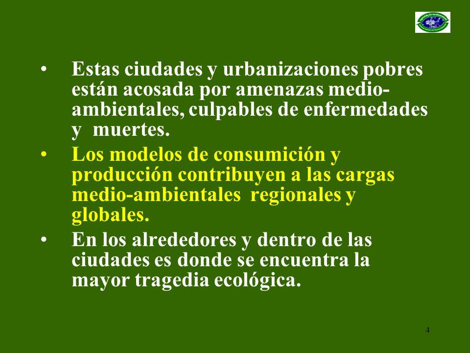 4 Estas ciudades y urbanizaciones pobres están acosada por amenazas medio- ambientales, culpables de enfermedades y muertes. Los modelos de consumició
