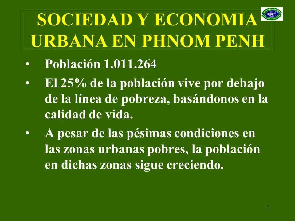 5 SOCIEDAD Y ECONOMIA URBANA EN PHNOM PENH Población 1.011.264 El 25% de la población vive por debajo de la línea de pobreza, basándonos en la calidad