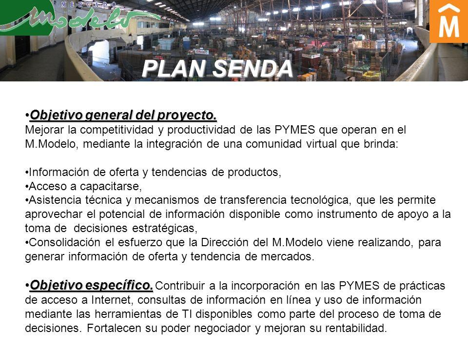 Beneficiarios: 60 PYMES integran el plan piloto, pero: Al Mercado Modelo acceden alrededor de 2.200 PYME integradas por: Operadores Productores Feriantes Almacenes, Puestos de frutas, verduras, Autoservicios Supermercados no asociados a cadenas Operadores y distribuidores del interior del país.