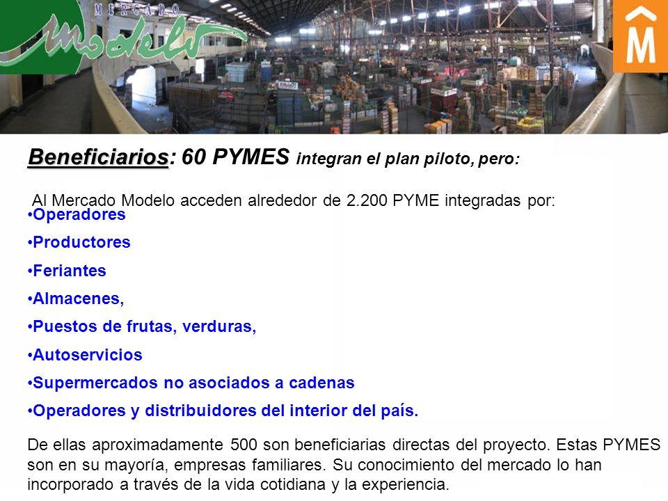 Beneficiarios: 60 PYMES integran el plan piloto, pero: Al Mercado Modelo acceden alrededor de 2.200 PYME integradas por: Operadores Productores Ferian