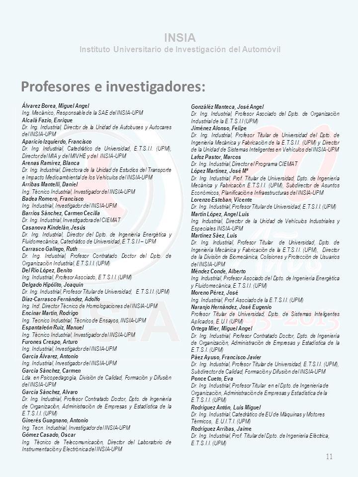 INSIA Instituto Universitario de Investigación del Automóvil Profesores e investigadores: Álvarez Borea, Miguel Angel Ing.