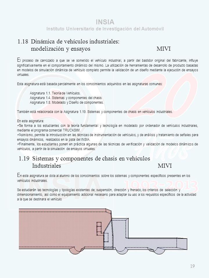 INSIA Instituto Universitario de Investigación del Automóvil 19 1.18 Dinámica de vehículos industriales: modelización y ensayosMIVI E l proceso de carrozado a que se ve sometido el vehículo industrial, a partir del bastidor original del fabricante, influye significativamente en el comportamiento dinámico del mismo.